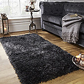 Sienna Large Shaggy Floor Rug Mat Runner 5cm Thick Pile Silver Charcoal Grey - Black