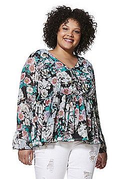 Lovedrobe Floral Print Plus Size Smock Top - Multi