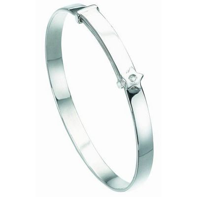 D For Diamond Silver Star Baby Bangle B772