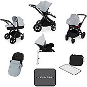 Ickle Bubba Stomp V3 AIO Isofix Travel System plus 2nd Stage Group 1,2,3 Car Seat - Silver (Black Chassis)