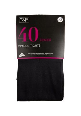 F&F 3 Pack of 40 Denier Temperature Control Opaque Tights M Black