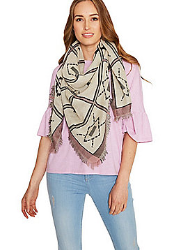 Pieces Tile Pattern Frayed Ends Square Scarf - Black & Pink