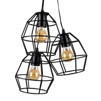 MiniSun Angus 3 Way Basket Ceiling Light - Satin Black