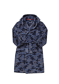 F&F Camo Print Soft Touch Dressing Gown - Blue