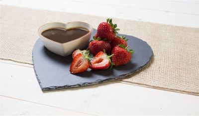 Occasion Heart Shaped Slate Tray Platter & Heart Shaped Serving Snack Bowl with Rose Gold Detail 24x24.5
