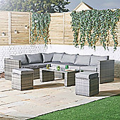 VonHaus 8 Seater Rattan Corner Sofa & Stool Set