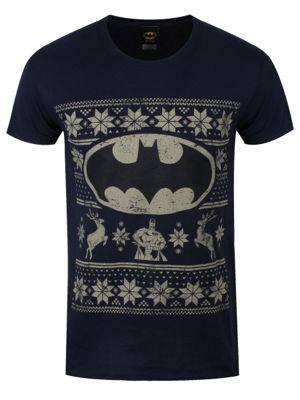 Batman Fair Isle Logo Blue Navy Men's T-shirt
