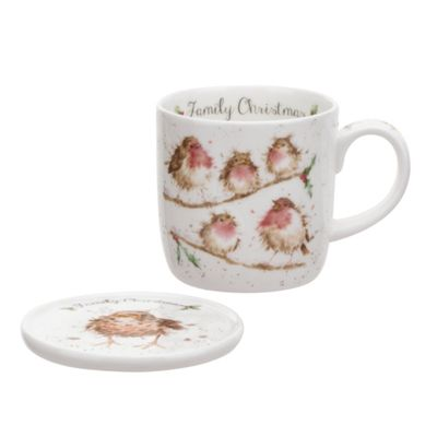 Royal Worcester Wrendale Robin Family Christmas Mug and Coaster Gift Set