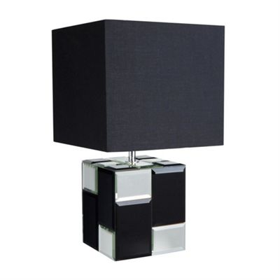 CUBE TABLE LAMP, MIRROR/BLACK
