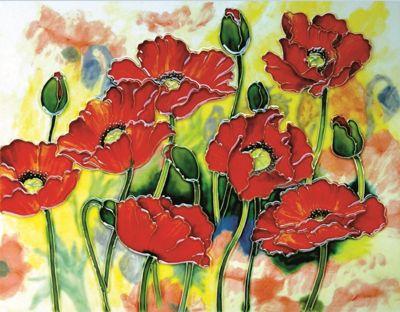 YH Arts Ceramic Wall Art, Red Poppies 14 x 11