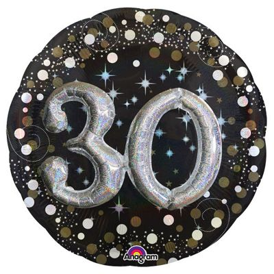 30th Birthday Sparkling Celebration 3D Balloon - 32 inch Foil