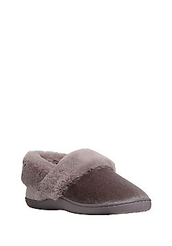 F&F Velour Faux Fur Lined Closed Back Slippers - Mink