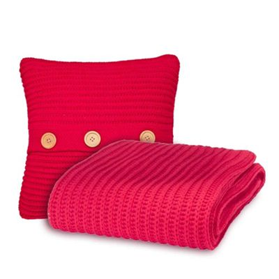 Catherine Lansfield Chunky Knit Cushion Cover & Throw Set - Red
