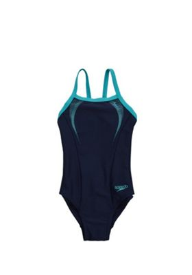 Speedo Endurance®10 Sports Logo Thinstrap Crossback Swimsuit 8 years Navy & Green