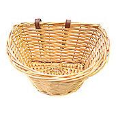 "Vintage Small 11"" Wicker Bike Basket Brown Adjustable Straps"