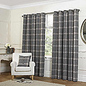 Rapport Grey Check Eyelet Curtains - 90x90 Inches (229x229cm)