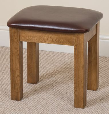 Cotswold Rustic Solid Oak & Leather Stool