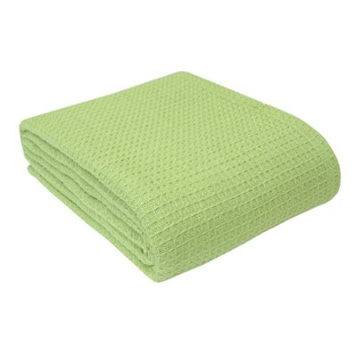 Homescapes Organic Cotton Waffle Blanket/ Throw Sage Green, 250 x 230 cm