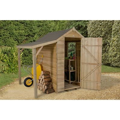 Forest Garden Overlap Pressure Treated 6x4 Apex Shed with Lean To Installed