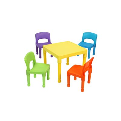Children's Multi-Coloured Table & 4 Chairs Set