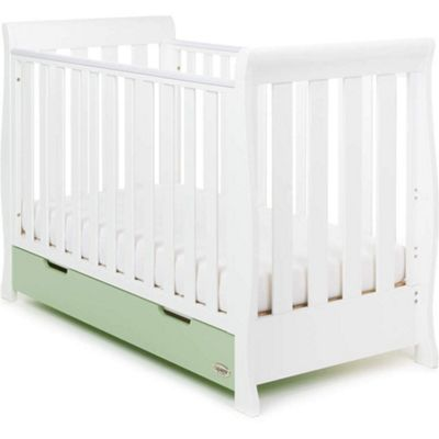 Obaby Stamford Mini Cotbed and Under Drawer - White with Pistachio