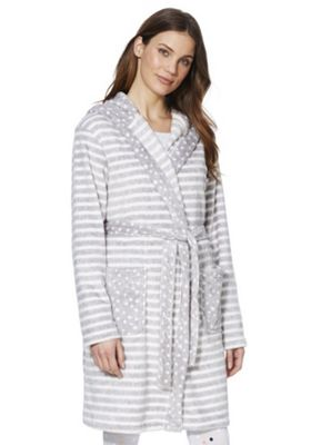 F&F Striped Fleece Dressing Gown Grey M