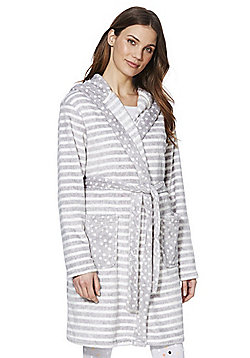 F&F Striped Fleece Dressing Gown - Grey