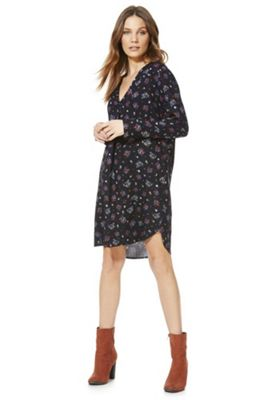 JDY Ditsy Floral Print Shirt Dress Navy Multi S