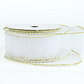 Ribbon Wired Edge Mesh - White & Gold