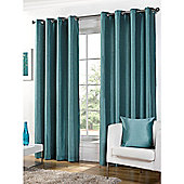 Hamilton McBride Faux Silk Lined Eyelet Teal Curtains - 90x90 Inches (229x229cm)