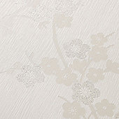 Superfresco Cherry Blossom Floral Metallic White Mica Wallpaper