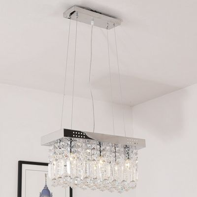 Homcom Crystal Light Flush Living Room Chandelier Mount Fixture