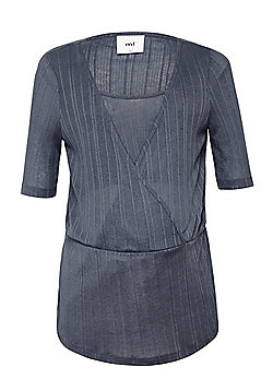 Mamalicious Ribbed Wrap Style Maternity and Nursing Top - Grey