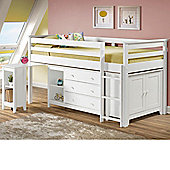 Happy Beds Cotswold White Solid Pine Wooden Kids Mid Sleeper Sleep Station Desk Cabin Storage Bed Memory Foam Mattress 3ft Single
