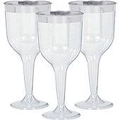Premium Silver Trim Plastic Wine Glasses - 295ml