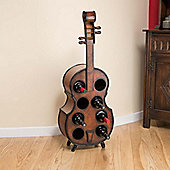 Christow Wooden Violin Cello 8 Bottle Wine Rack
