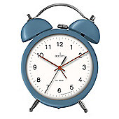 Acctim Zeno Double Bell Quartz Battery Operated Alarm Clock with Metal Case and Push Button Light - Blue