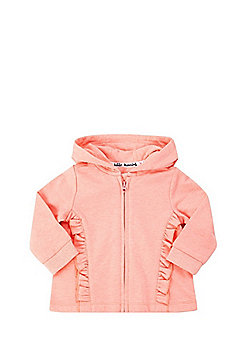 F&F Frill Trim Zip-Through Hoodie - Neon Coral