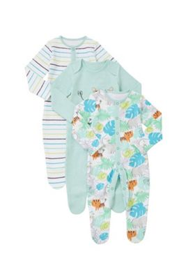F&F 3 Pack of Striped and Jungle Print Sleepsuits Green 3-6 months