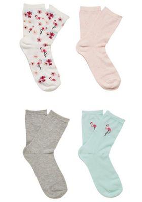 F&F 4 Pair Pack of Flamingo Ankle Socks Pink/Mint M-L