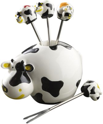 Boska Cow Shaped Party Cheese Pic Stick Set x 6 853704