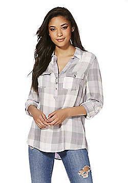 F&F Checked Popover Shirt - Grey