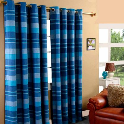 Homescapes Cotton Morocco Striped Blue Curtain Pair, 66 x 72