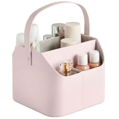 Beautify Faux Leather Makeup Caddy with Carry Handle - Pink with Grey Velvet Lining