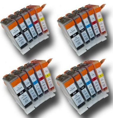 20 Chipped Compatible Canon PGI-5 and CLI-8 Ink Cartridges
