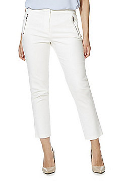 F&F Zip Trim Slim Leg Ankle Grazer Trousers - White