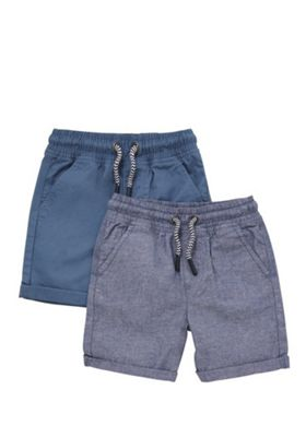 F&F 2 Pack of Chambray and Plain Drawstring Shorts Blue 12-18 months