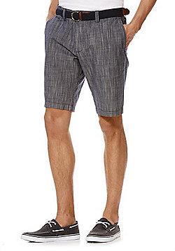 F&F Mini Check Chino Shorts with Belt - Navy