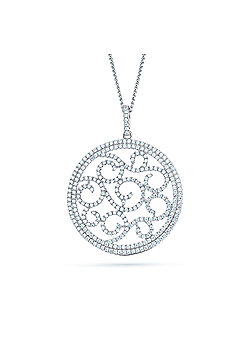 REAL Effect Rhodium Plated Sterling Silver White Cubic Zirconia Swirls in A Circle Charm Pendant - 16/18 inch