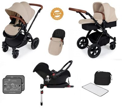 Ickle Bubba Stomp V3 AIO Travel System with 2 x Isofix Base + Mosquito Net Sand (Black Chassis)